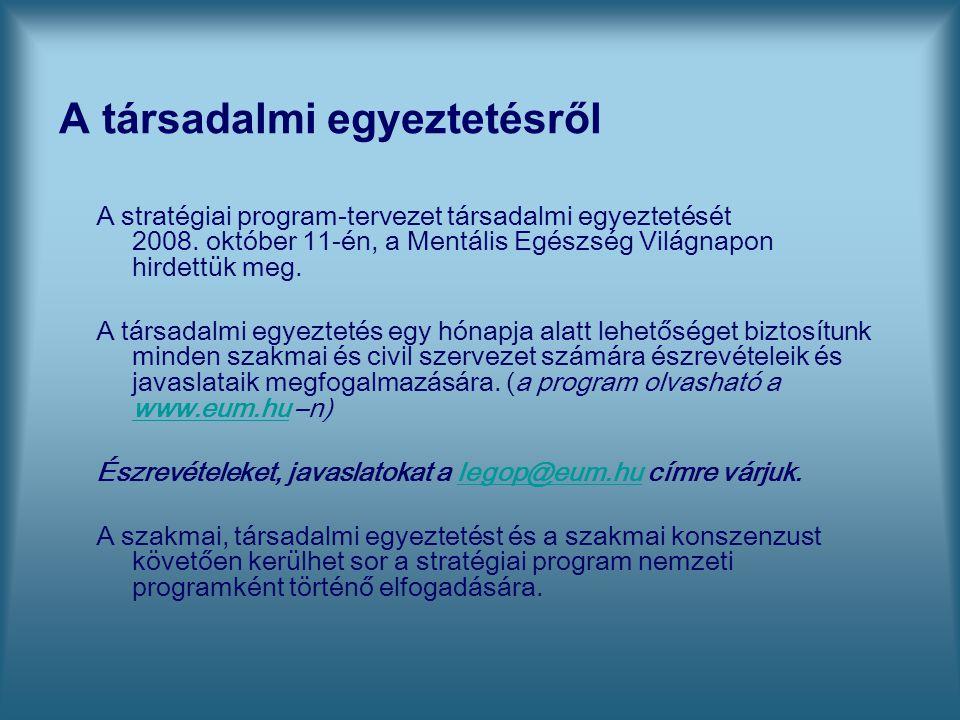 A társadalmi egyeztetésről A stratégiai program-tervezet társadalmi egyeztetését 2008. október 11-én, a Mentális Egészség Világnapon hirdettük meg. A