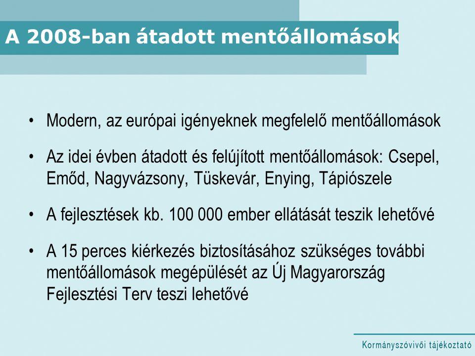 A 2008-ban átadott mentőállomások Modern, az európai igényeknek megfelelő mentőállomások Az idei évben átadott és felújított mentőállomások: Csepel, E