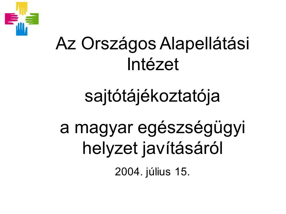 Az Országos Alapellátási Intézet sajtótájékoztatója a magyar egészségügyi helyzet javításáról 2004.