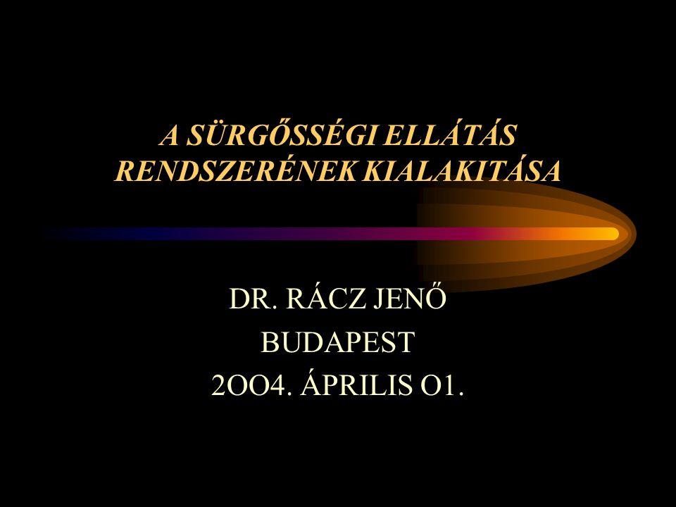 A SÜRGŐSSÉGI ELLÁTÁS RENDSZERÉNEK KIALAKITÁSA DR. RÁCZ JENŐ BUDAPEST 2OO4. ÁPRILIS O1.