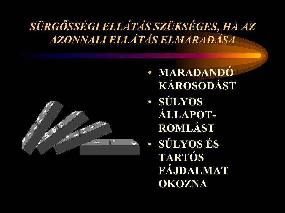 SÜRGŐSSÉGI ELLÁTÁS SZÜKSÉGES, HA AZ AZONNALI ELLÁTÁS ELMARADÁSA MARADANDÓ KÁROSODÁST SÚLYOS ÁLLAPOT- ROMLÁST SÚLYOS ÉS TARTÓS FÁJDALMAT OKOZNA