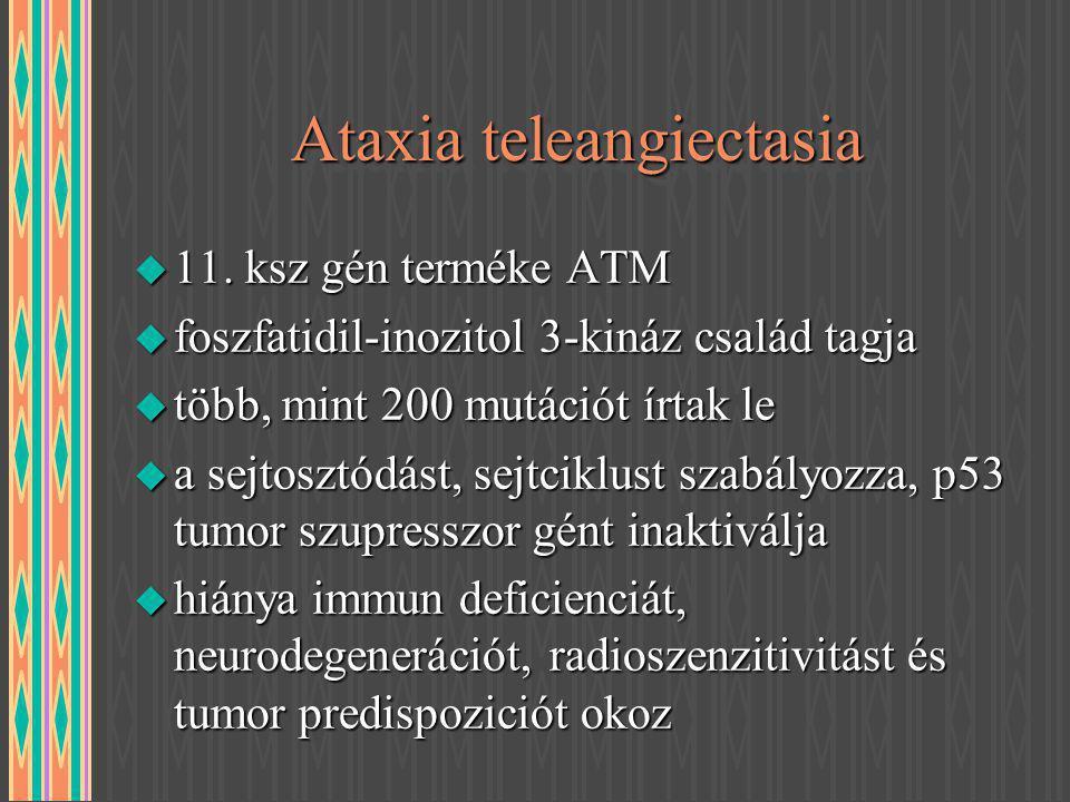 Ataxia teleangiectasia u 11. ksz gén terméke ATM u foszfatidil-inozitol 3-kináz család tagja u több, mint 200 mutációt írtak le u a sejtosztódást, sej