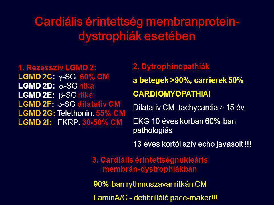 Cardiális érintettség membranprotein- dystrophiák esetében 1. Rezesszív LGMD 2: LGMD 2C:  -SG 60% CM LGMD 2D:  -SG ritka LGMD 2E:  -SG ritka LGMD 2