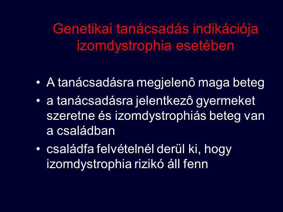 Genetikai tanácsadás indikációja izomdystrophia esetében A tanácsadásra megjelenô maga beteg a tanácsadásra jelentkezô gyermeket szeretne és izomdystr