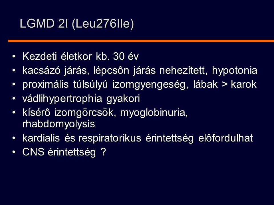 LGMD 2I (Leu276Ile) Kezdeti életkor kb.30 évKezdeti életkor kb.