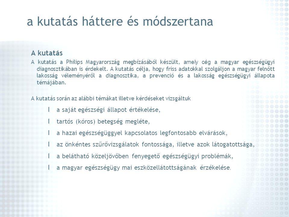 a kutatás háttere és módszertana A kutatás A kutatás a Philips Magyarország megbízásából készült, a mely cég a magyar egészségügyi diagnosztikában is