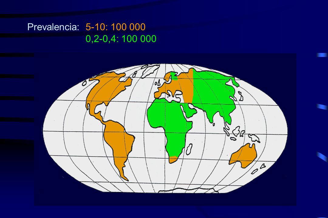 Prevalencia:5-10: 100 000 0,2-0,4: 100 000