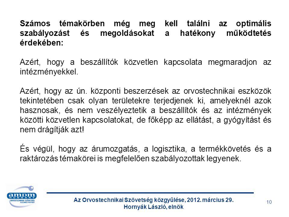 Az Orvostechnikai Szövetség közgyűlése, 2012. március 29. Hornyák László, elnök 10 Számos témakörben még meg kell találni az optimális szabályozást és
