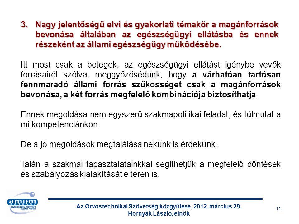 Az Orvostechnikai Szövetség közgyűlése, 2012. március 29. Hornyák László, elnök 11 Itt most csak a betegek, az egészségügyi ellátást igénybe vevők for
