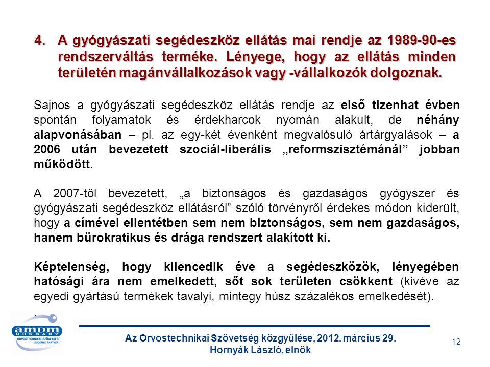 Az Orvostechnikai Szövetség közgyűlése, 2012. március 29. Hornyák László, elnök 12 Sajnos a gyógyászati segédeszköz ellátás rendje az első tizenhat év