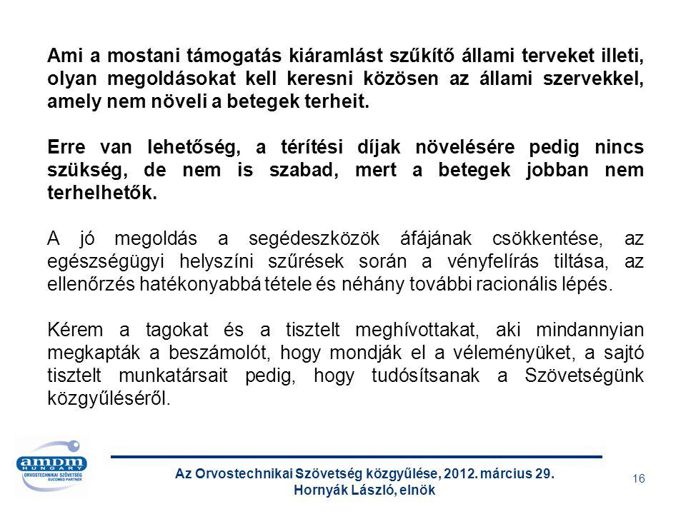 Az Orvostechnikai Szövetség közgyűlése, 2012. március 29. Hornyák László, elnök 16 Ami a mostani támogatás kiáramlást szűkítő állami terveket illeti,