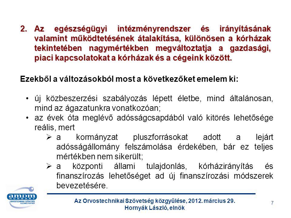 Az Orvostechnikai Szövetség közgyűlése, 2012. március 29. Hornyák László, elnök 7 Ezekből a változásokból most a következőket emelem ki: új közbeszerz