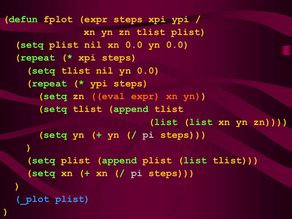 (defun fplot (expr steps xpi ypi / xn yn zn tlist plist) (setq plist nil xn 0.0 yn 0.0) (repeat (* xpi steps) (setq tlist nil yn 0.0) (repeat (* ypi steps) (setq zn ((eval expr) xn yn)) (setq tlist (append tlist (list (list xn yn zn)))) (setq yn (+ yn (/ pi steps))) ) (setq plist (append plist (list tlist))) (setq xn (+ xn (/ pi steps))) ) (_plot plist) )