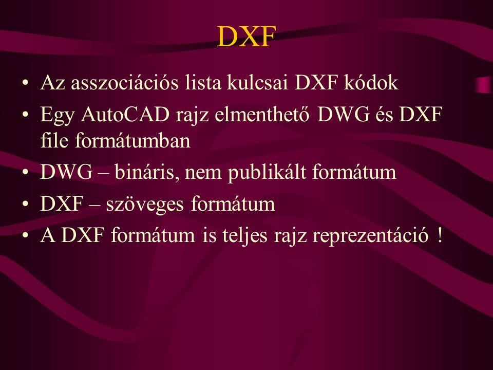 DXF Az asszociációs lista kulcsai DXF kódok Egy AutoCAD rajz elmenthető DWG és DXF file formátumban DWG – bináris, nem publikált formátum DXF – szöveges formátum A DXF formátum is teljes rajz reprezentáció !