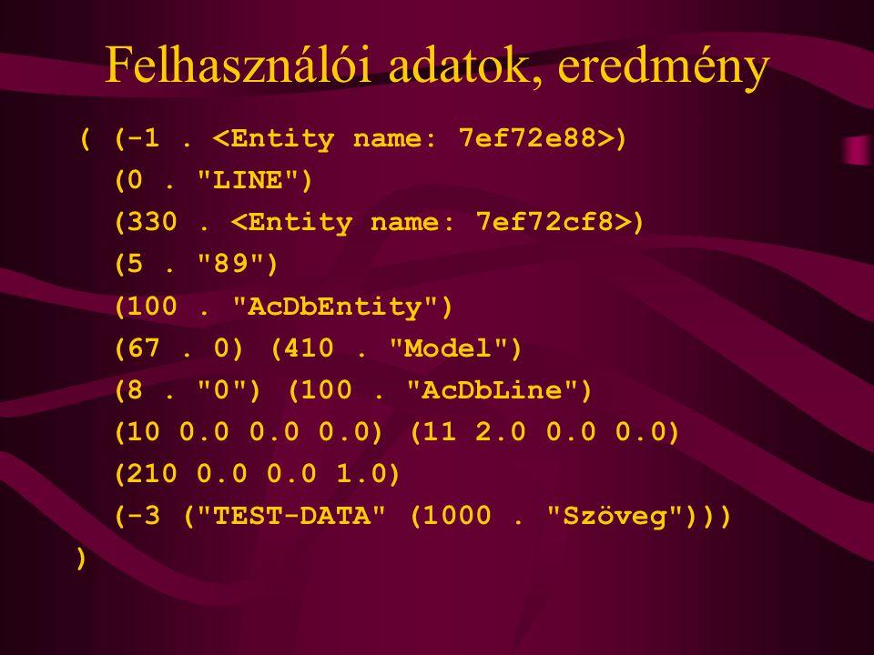 Felhasználói adatok, eredmény ( (-1.) (0. LINE ) (330.