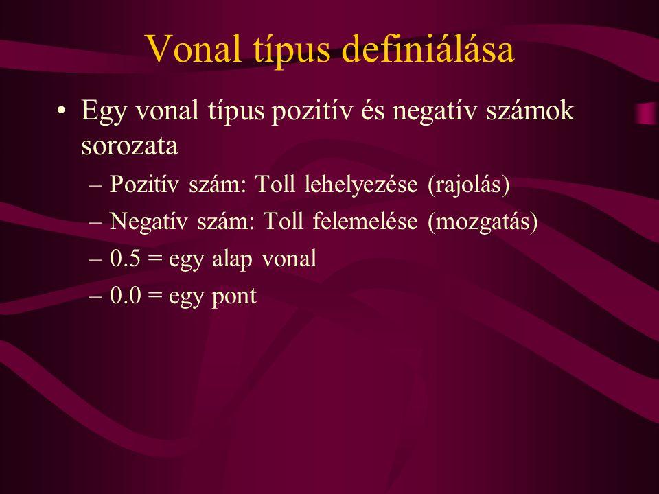 Vonal típus definiálása Egy vonal típus pozitív és negatív számok sorozata –Pozitív szám: Toll lehelyezése (rajolás) –Negatív szám: Toll felemelése (mozgatás) –0.5 = egy alap vonal –0.0 = egy pont