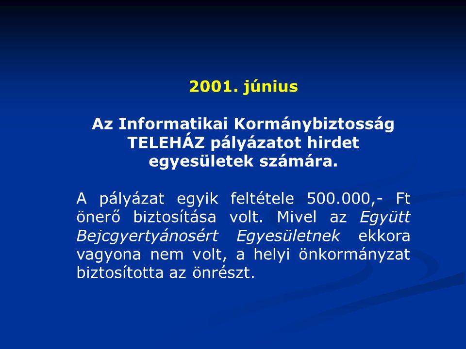 2001. június Az Informatikai Kormánybiztosság TELEHÁZ pályázatot hirdet egyesületek számára. A pályázat egyik feltétele 500.000,- Ft önerő biztosítása