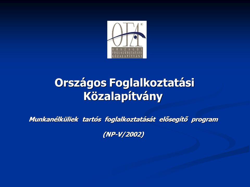 Országos Foglalkoztatási Közalapítvány Országos Foglalkoztatási Közalapítvány Munkanélküliek tartós foglalkoztatását elősegítő program (NP-V/2002)