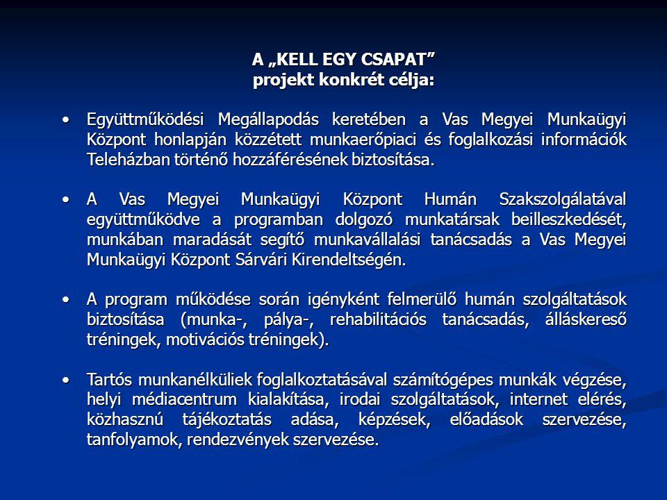 """A """"KELL EGY CSAPAT"""" projekt konkrét célja: Együttműködési Megállapodás keretében a Vas Megyei Munkaügyi Központ honlapján közzétett munkaerőpiaci és f"""
