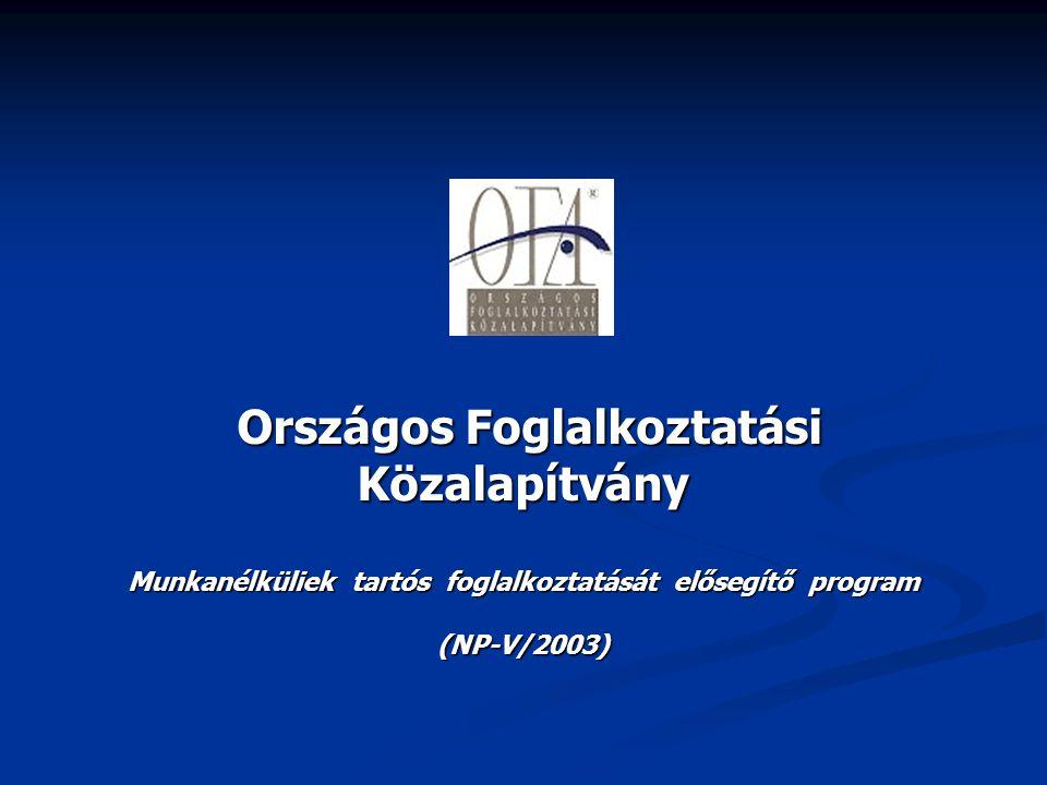 Országos Foglalkoztatási Közalapítvány Országos Foglalkoztatási Közalapítvány Munkanélküliek tartós foglalkoztatását elősegítő program (NP-V/2003)