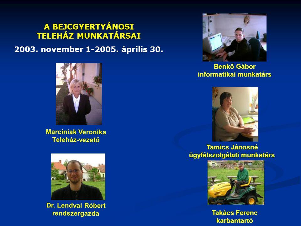 A BEJCGYERTYÁNOSI TELEHÁZ MUNKATÁRSAI 2003. november 1-2005. április 30. Tamics Jánosné ügyfélszolgálati munkatárs Marciniak Veronika Teleház-vezető B
