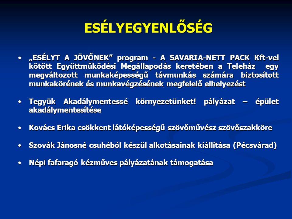 """ESÉLYEGYENLŐSÉG """"ESÉLYT A JÖVŐNEK"""" program - A SAVARIA-NETT PACK Kft-vel kötött Együttműködési Megállapodás keretében a Teleház egy megváltozott munka"""
