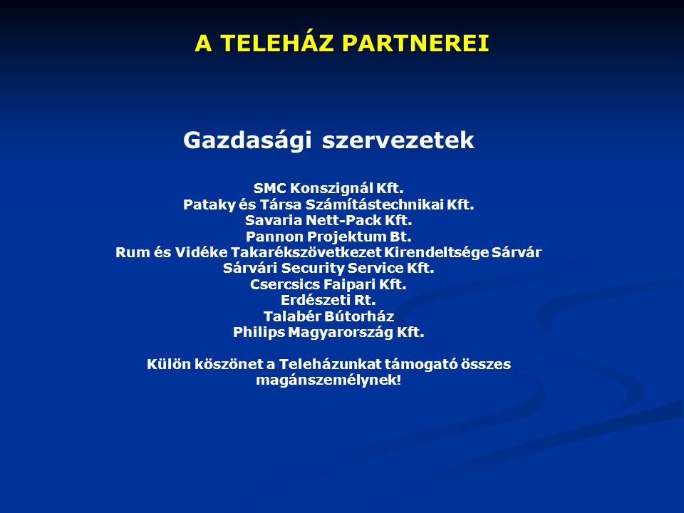 A TELEHÁZ PARTNEREI Gazdasági szervezetek SMC Konszignál Kft. Pataky és Társa Számítástechnikai Kft. Savaria Nett-Pack Kft. Pannon Projektum Bt. Rum é