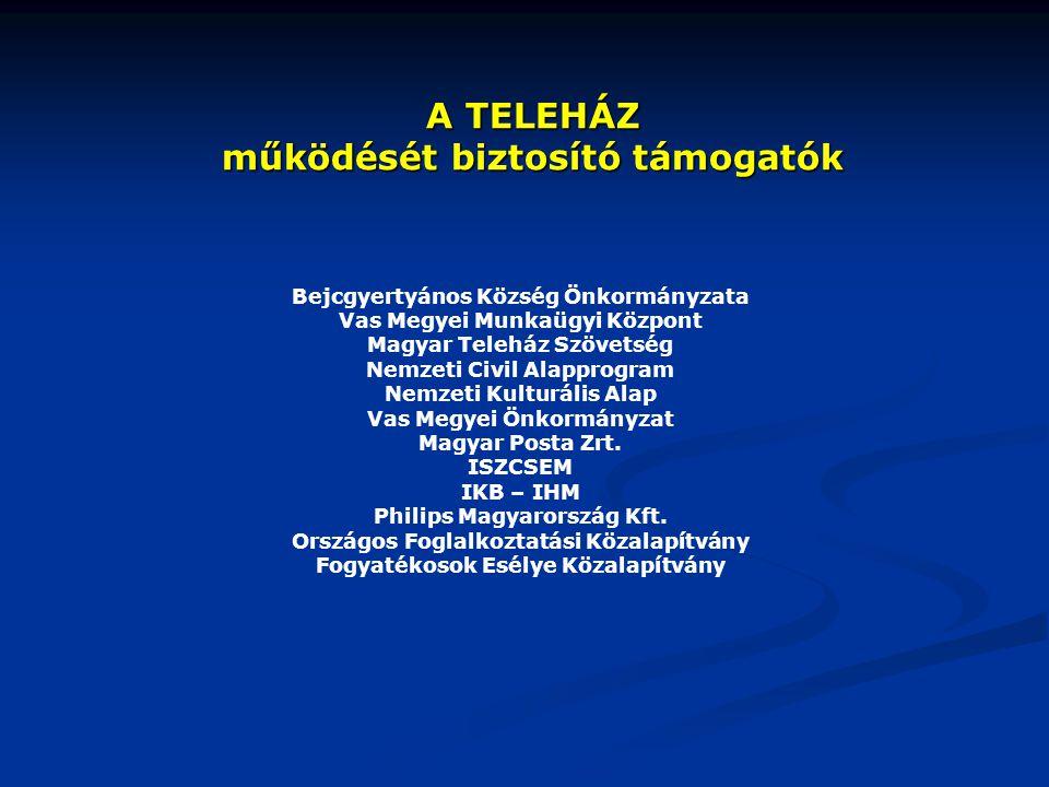 A TELEHÁZ működését biztosító támogatók Bejcgyertyános Község Önkormányzata Vas Megyei Munkaügyi Központ Magyar Teleház Szövetség Nemzeti Civil Alappr