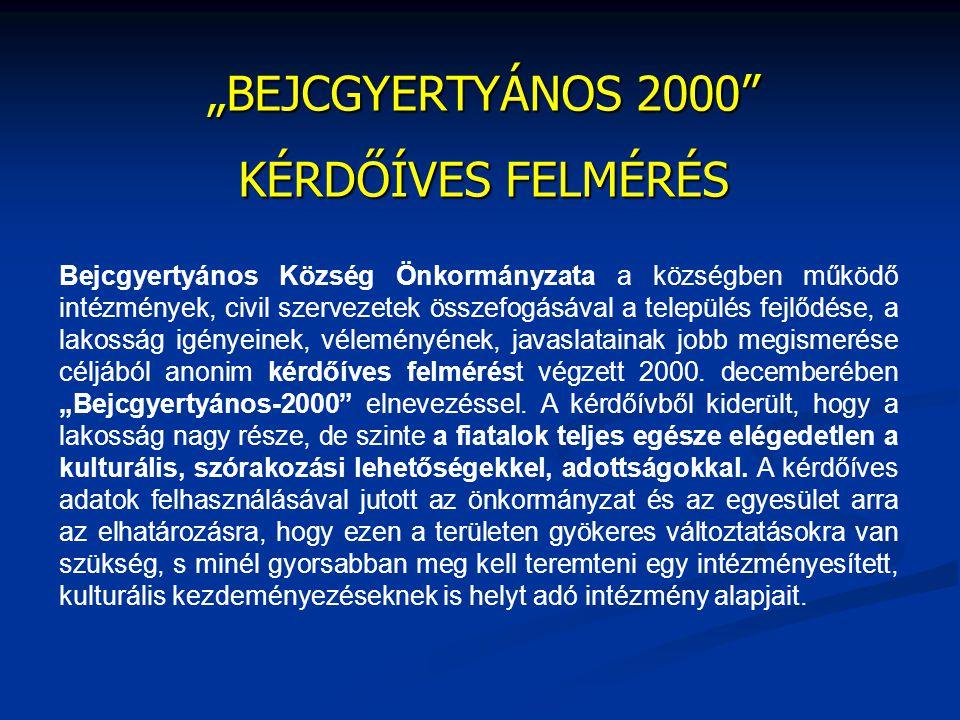 """""""BEJCGYERTYÁNOS 2000"""" KÉRDŐÍVES FELMÉRÉS Bejcgyertyános Község Önkormányzata a községben működő intézmények, civil szervezetek összefogásával a telepü"""