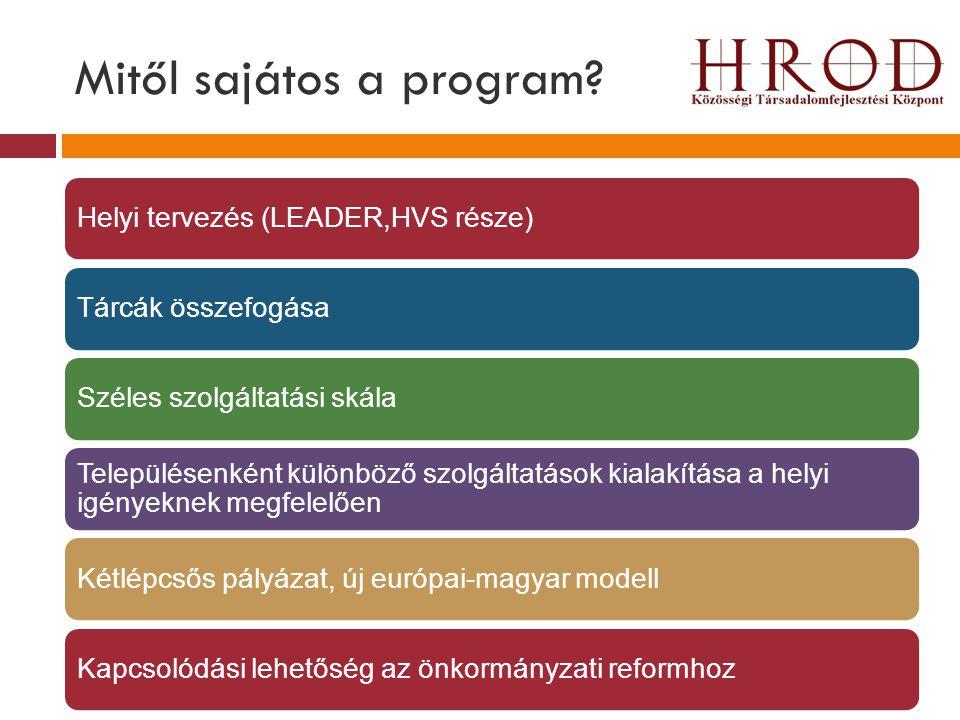 Mitől sajátos a program? Helyi tervezés (LEADER,HVS része)Tárcák összefogásaSzéles szolgáltatási skála Településenként különböző szolgáltatások kialak