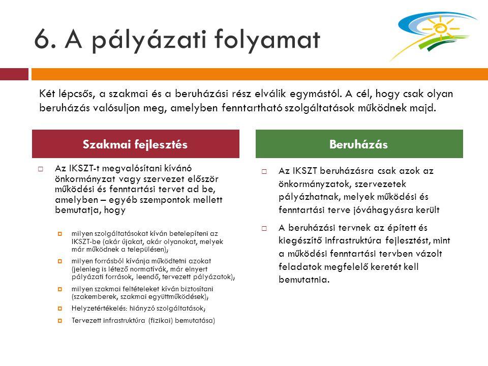 6. A pályázati folyamat  Az IKSZT-t megvalósítani kívánó önkormányzat vagy szervezet először működési és fenntartási tervet ad be, amelyben – egyéb s