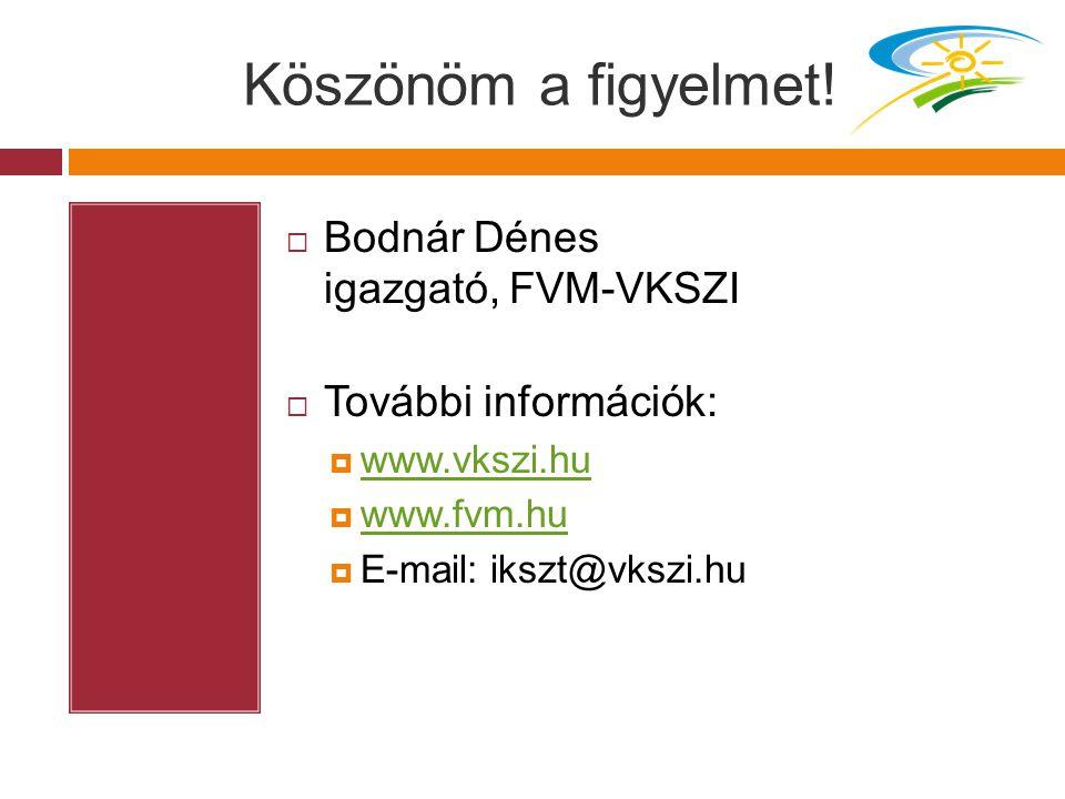 Köszönöm a figyelmet!  Bodnár Dénes igazgató, FVM-VKSZI  További információk:  www.vkszi.hu www.vkszi.hu  www.fvm.hu www.fvm.hu  E-mail: ikszt@vk