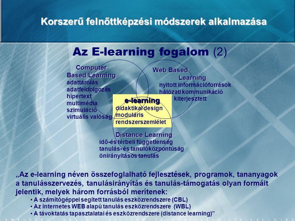 """Korszerű felnőttképzési módszerek alkalmazása Az E-learning fogalom (2) """"Az e-learning néven összefoglalható fejlesztések, programok, tananyagok a tan"""