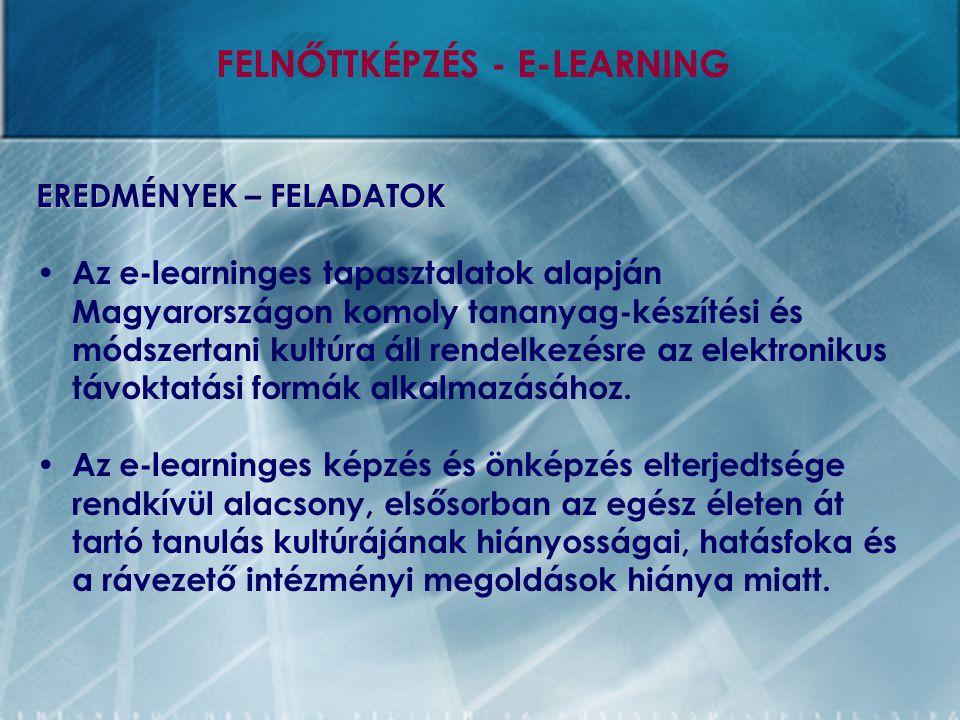 EREDMÉNYEK – FELADATOK Az e-learninges tapasztalatok alapján Magyarországon komoly tananyag-készítési és módszertani kultúra áll rendelkezésre az elek