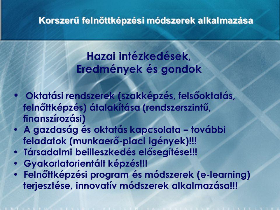 Korszerű felnőttképzési módszerek alkalmazása Hazai intézkedések, Eredmények és gondok Oktatási rendszerek (szakképzés, felsőoktatás, felnőttképzés) á