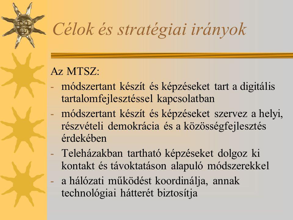 Célok és stratégiai irányok Az MTSZ: - módszertant készít és képzéseket tart a digitális tartalomfejlesztéssel kapcsolatban - módszertant készít és képzéseket szervez a helyi, részvételi demokrácia és a közösségfejlesztés érdekében - Teleházakban tartható képzéseket dolgoz ki kontakt és távoktatáson alapuló módszerekkel - a hálózati működést koordinálja, annak technológiai hátterét biztosítja