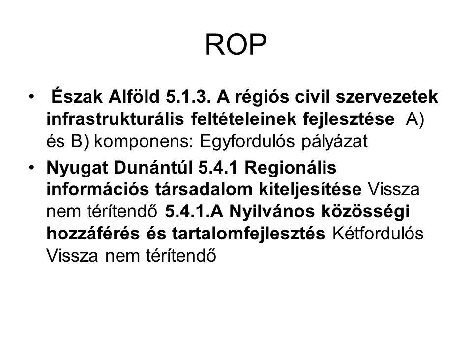 ROP Észak Alföld 5.1.3. A régiós civil szervezetek infrastrukturális feltételeinek fejlesztése A) és B) komponens: Egyfordulós pályázat Nyugat Dunántú