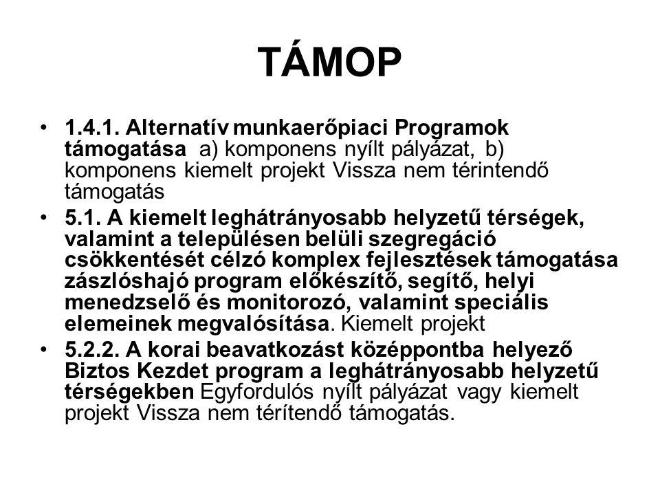 TÁMOP 1.4.1. Alternatív munkaerőpiaci Programok támogatása a) komponens nyílt pályázat, b) komponens kiemelt projekt Vissza nem térintendő támogatás 5