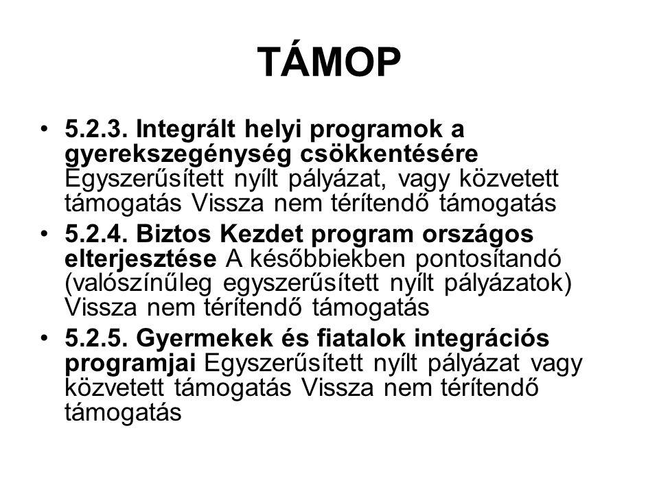 TÁMOP 5.2.3. Integrált helyi programok a gyerekszegénység csökkentésére Egyszerűsített nyílt pályázat, vagy közvetett támogatás Vissza nem térítendő t