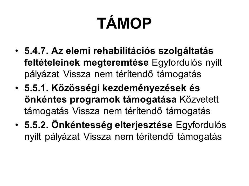 TÁMOP 5.4.7. Az elemi rehabilitációs szolgáltatás feltételeinek megteremtése Egyfordulós nyílt pályázat Vissza nem térítendő támogatás 5.5.1. Közösség
