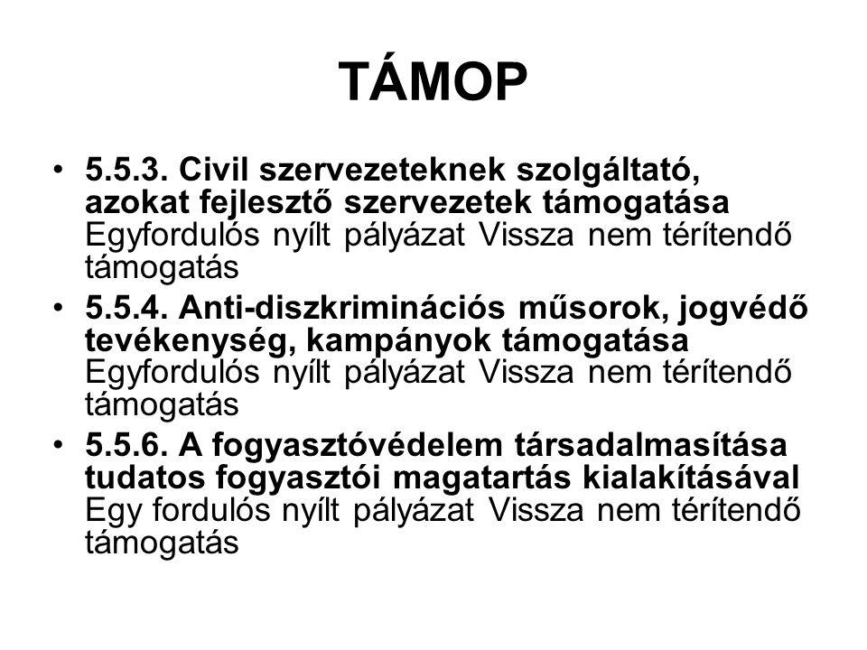 TÁMOP 5.5.3. Civil szervezeteknek szolgáltató, azokat fejlesztő szervezetek támogatása Egyfordulós nyílt pályázat Vissza nem térítendő támogatás 5.5.4