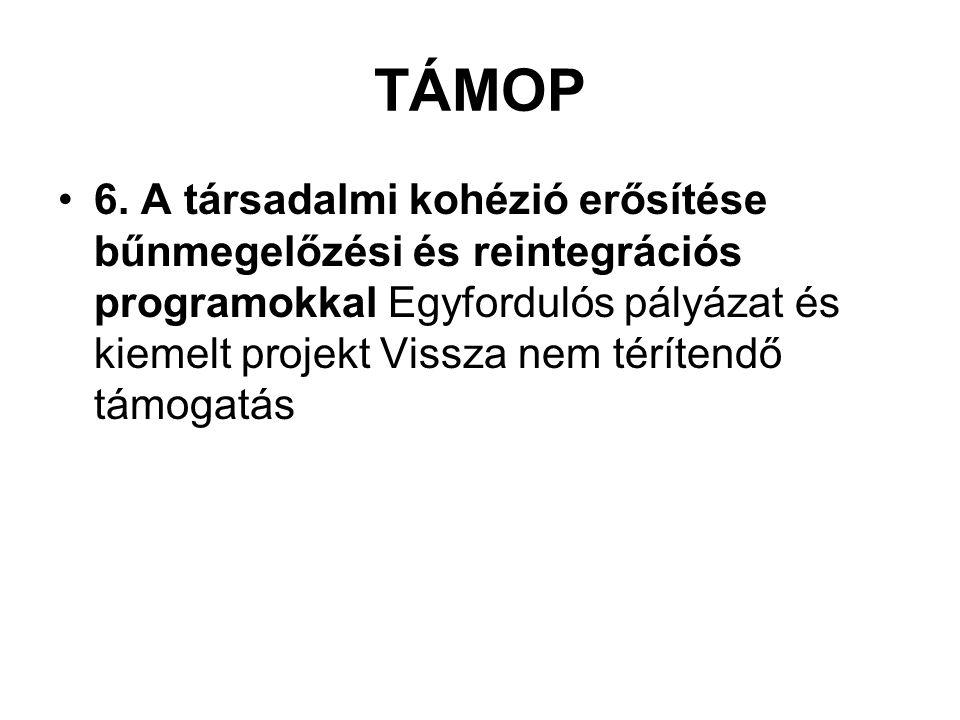 TÁMOP 6. A társadalmi kohézió erősítése bűnmegelőzési és reintegrációs programokkal Egyfordulós pályázat és kiemelt projekt Vissza nem térítendő támog