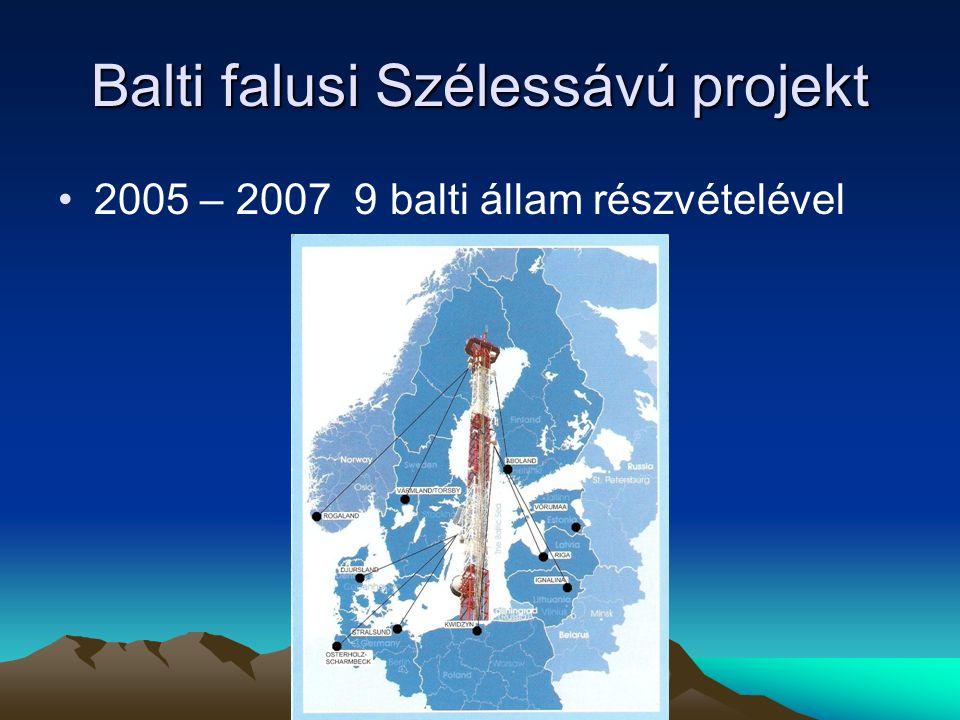 Balti falusi Szélessávú projekt 2005 – 2007 9 balti állam részvételével