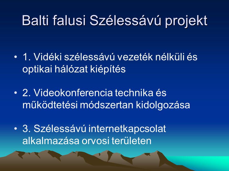 Balti falusi Szélessávú projekt 1. Vidéki szélessávú vezeték nélküli és optikai hálózat kiépítés 2.