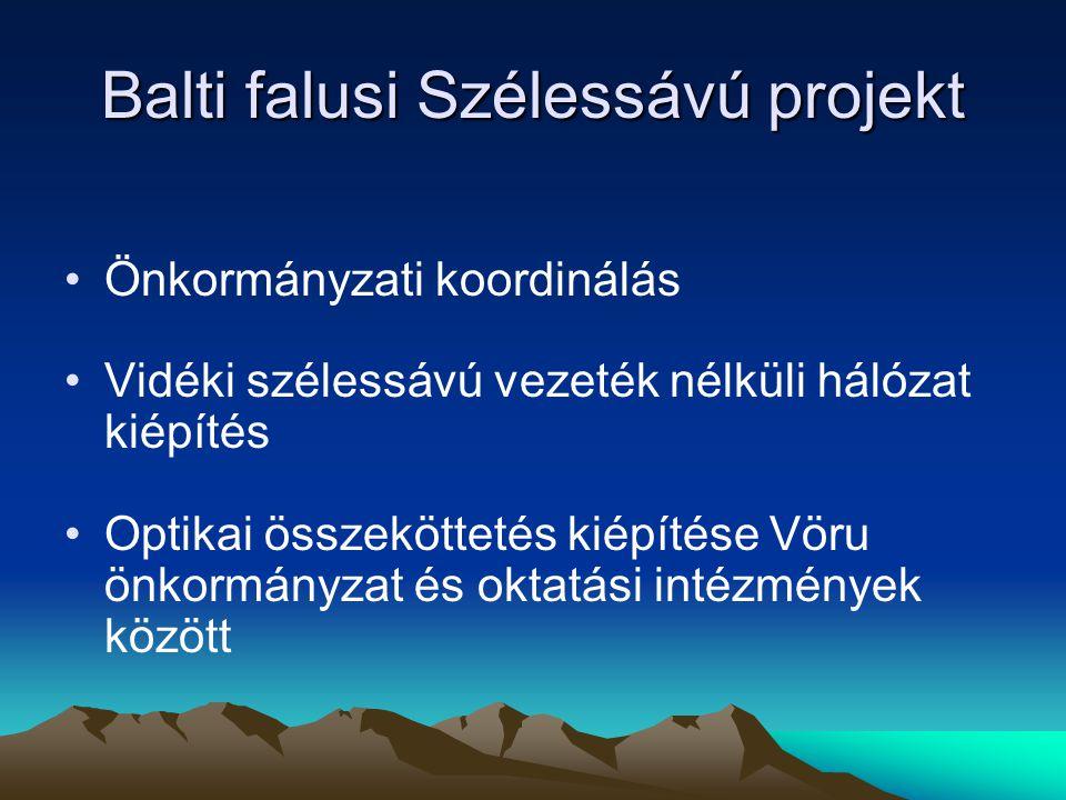 Balti falusi Szélessávú projekt Önkormányzati koordinálás Vidéki szélessávú vezeték nélküli hálózat kiépítés Optikai összeköttetés kiépítése Vöru önkormányzat és oktatási intézmények között