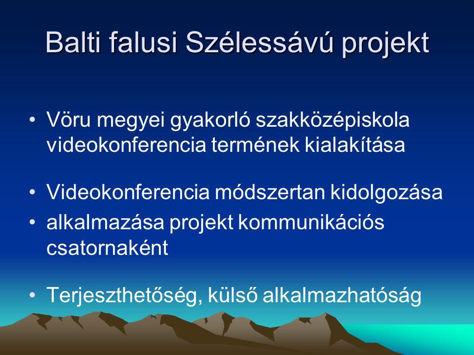 Balti falusi Szélessávú projekt Vöru megyei gyakorló szakközépiskola videokonferencia termének kialakítása Videokonferencia módszertan kidolgozása alkalmazása projekt kommunikációs csatornaként Terjeszthetőség, külső alkalmazhatóság