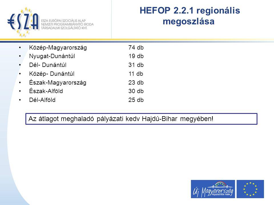 Közép-Magyarország 74 db Nyugat-Dunántúl 19 db Dél- Dunántúl 31 db Közép- Dunántúl 11 db Észak-Magyarország 23 db Észak-Alföld 30 db Dél-Alföld 25 db HEFOP 2.2.1 regionális megoszlása Az átlagot meghaladó pályázati kedv Hajdú-Bihar megyében!
