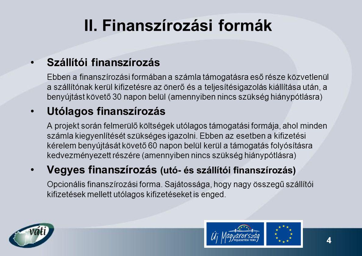 4 II. Finanszírozási formák Szállítói finanszírozás Ebben a finanszírozási formában a számla támogatásra eső része közvetlenül a szállítónak kerül kif