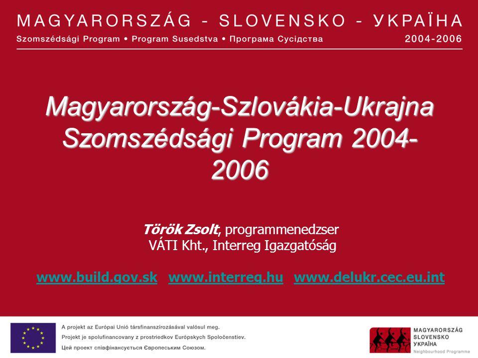 Magyarország-Szlovákia-Ukrajna Szomszédsági Program 2004- 2006 Török Zsolt, programmenedzser VÁTI Kht., Interreg Igazgatóság www.build.gov.skwww.build