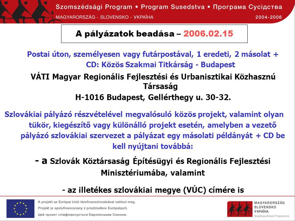 A pályázatok beadása – 2006.02.15 Postai úton, személyesen vagy futárpostával, 1 eredeti, 2 másolat + CD: Közös Szakmai Titkárság - Budapest VÁTI Magy